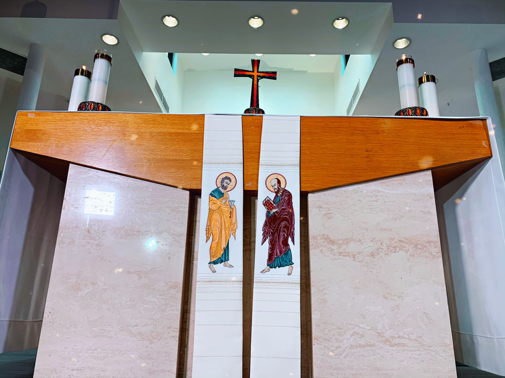 Image of Fr. Mario's Stole of Sts. Peter and Paul on the Alter Table